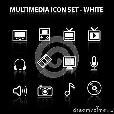 Reflektieren Sie Multimedia-Ikonen-Set