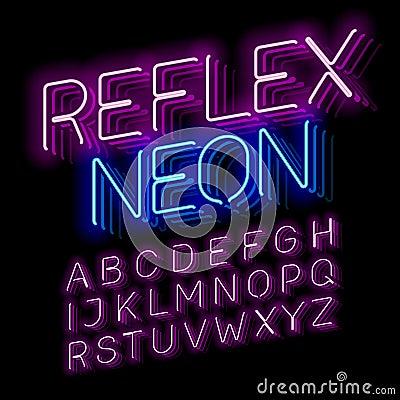 Free Reflex Neon Font Stock Photos - 76286073