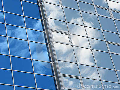 Reflexion of the sky and clouds in windows