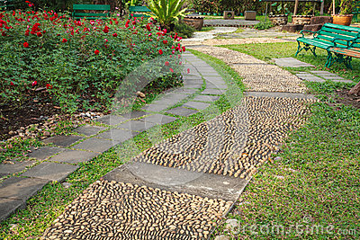 Reflexology pebble path