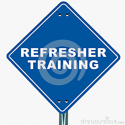 Refresher training banner on white background, blue road sign pointing ...