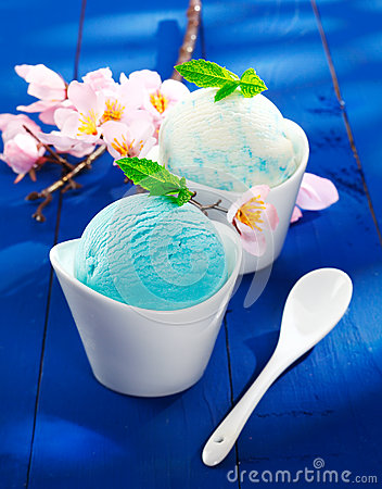 Refreshing blue Italian icecream