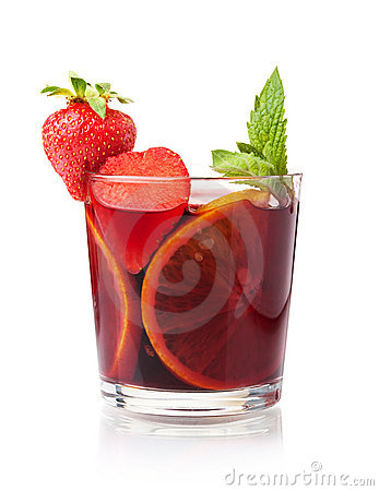 Refreshing fruit sangria with strawberry