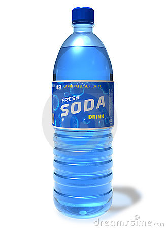 Refreshing soda drink in plastic bottle