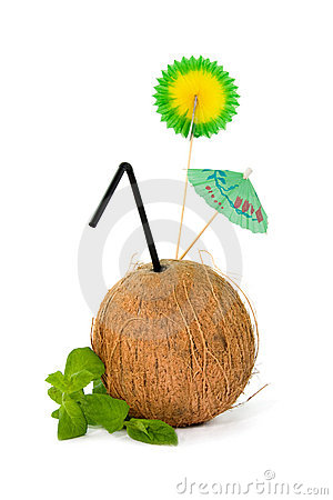 Refreshing tropical coconut drink