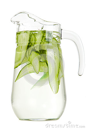Refreshing water with cucumber on isolated white