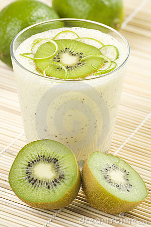 Refreshment and creamy milkshake  kiwi and lime