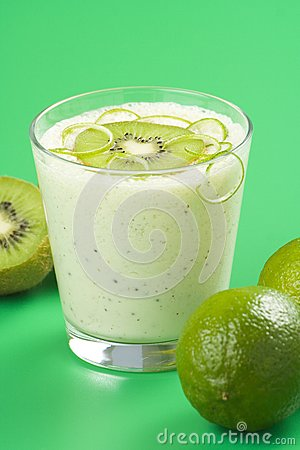 Refreshment and creamy milkshake  kiwi and lime