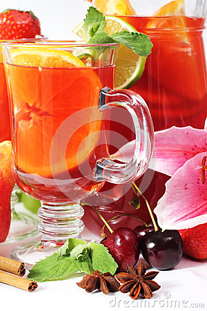 Refreshment in glass with fruits