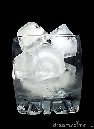 Refreshment: Glass with ice cubes