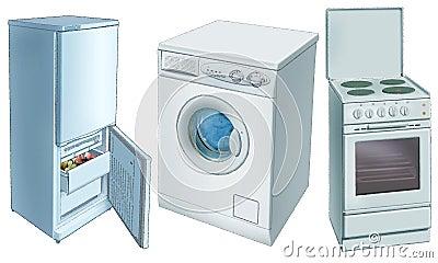 Refrigerator,  washing machine, electric-plate