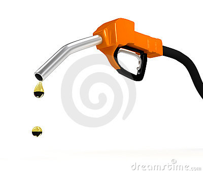 Refuel station pump over white background
