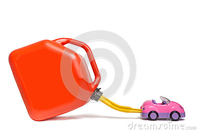 Refueling toy car with plastic gas tank.