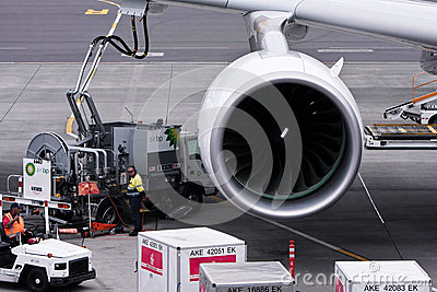 Refuelling work of Airbus A380 airliner. Editorial Photography