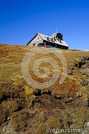 Refuge on mountain peak in romania