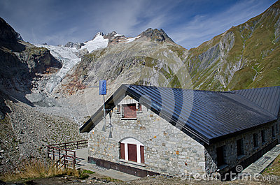 Refuge in the mountains of Mont Blanc