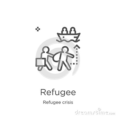 refugee icon vector from refugee crisis collection. Thin line refugee outline icon vector illustration. Outline, thin line refugee Vector Illustration