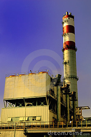 Refuse incinerator in sunset