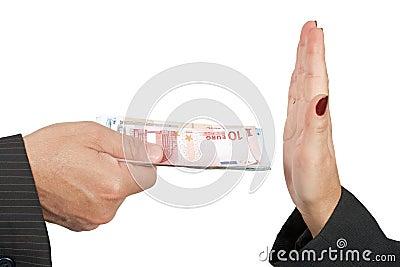 Refusing money