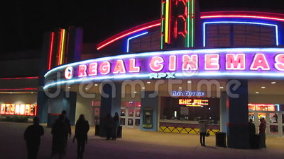 Regal Cinema At Night Stock Video Footage Video Of