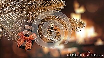 Regalo de Navidad - llave del coche almacen de metraje de vídeo