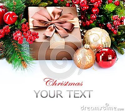 Regalo y decoraciones de la Navidad