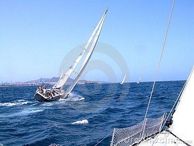 During a regatta in Canaries Editorial Photo
