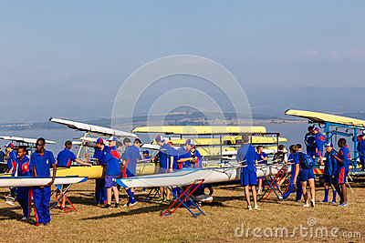 Regatta Canoe Crafts Teams Preparation Editorial Image