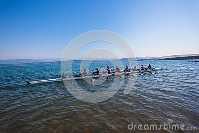 Regatta Eights Octs Boys Team Water Editorial Stock Image