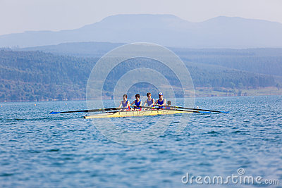 Regatta Fours Boys Team Waiting Start Editorial Photography