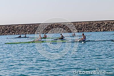 Regatta Skulls Boys Time Trial Rowing Editorial Photography
