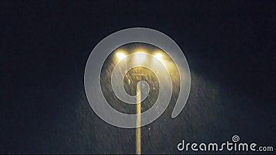 Regen bij nacht met lichte lamp stock videobeelden