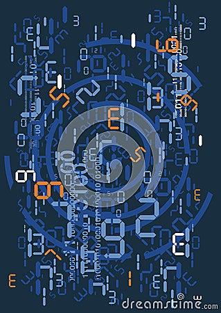 Regen van digitale aantallen