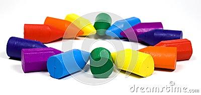 Regenboog van waskleurpotloden