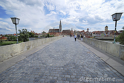Regensburg stone bridge Editorial Stock Image