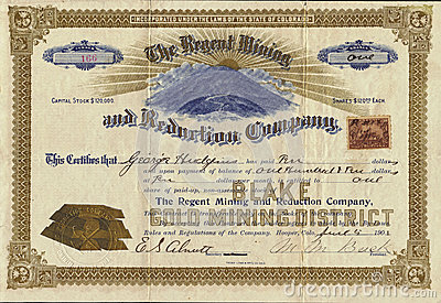 1901 The Regent Mining and Reduction Company Stock Certificate Editorial Stock Image