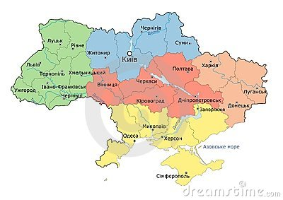 Regional map of Ukraine