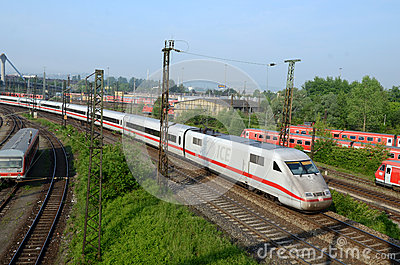 Regional train enters station Ulm Editorial Photo