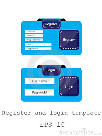 Register and login template, eps 10