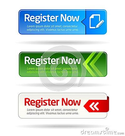 Register now modern minimal button collection
