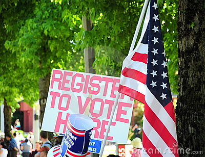Register to vote sign.