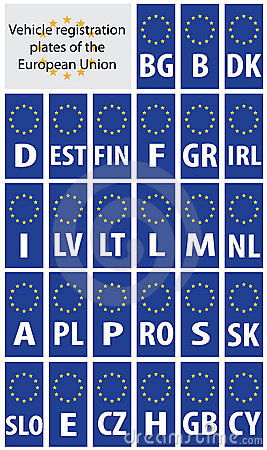 Registration plates of EU