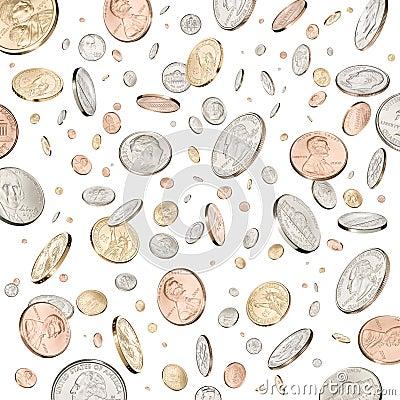 Regna för pengar för mynt ner fallande