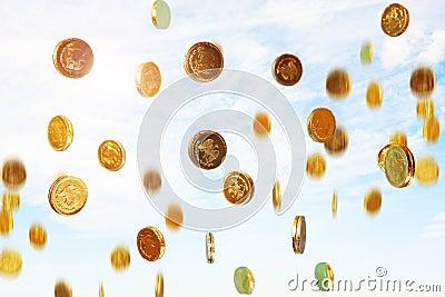 Regnen der Münzen