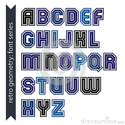 Regular stylish font with straight lines only. Triple sans serif