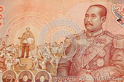 Rei Rama V na nota de banco tailandesa