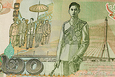 Rei Rama VIII na nota de banco tailandesa de 20 bahts