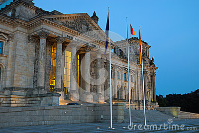 The Reichstag in Berlin at dawn