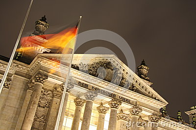 Reichstag building in Berlin at night