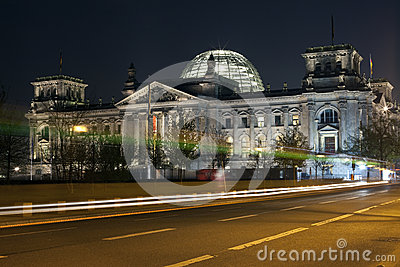 Reichstag and light trails in Berlin
